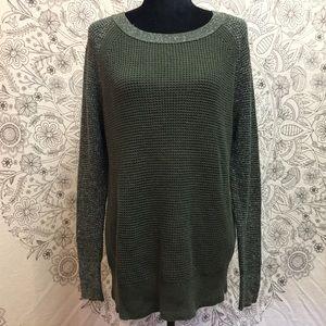 AEO XL Green Sweater w/Silver Thread Sleeves